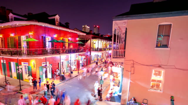 bourbon street: new orleans, la - new orleans stock videos and b-roll footage