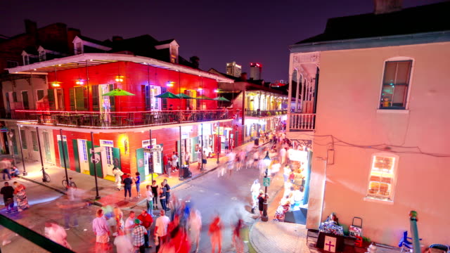 bourbon street, new orleans, la - waterfront stock videos & royalty-free footage