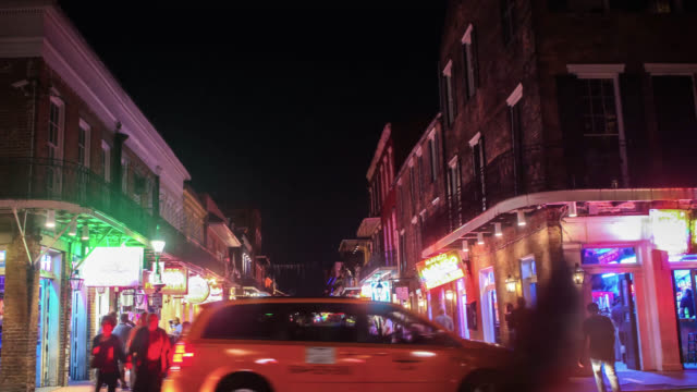 bourbon street night time hyper lapse - bourbon street new orleans stock videos and b-roll footage