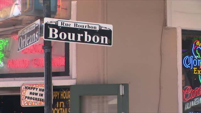cu zo ms bourbon street sign, french quarter, new orleans, louisiana, usa - bourbon street new orleans stock videos and b-roll footage