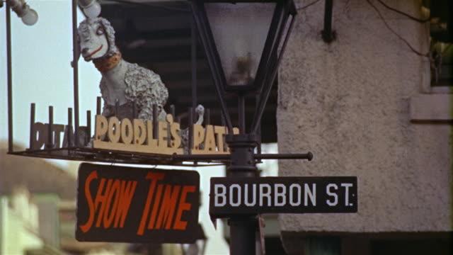 1959 CU Bourbon Street sign, New Orleans, Louisiana, USA