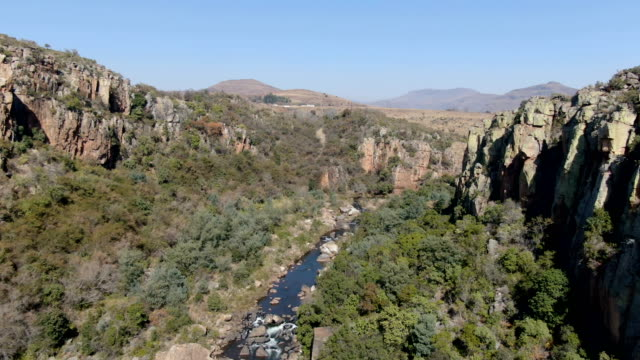 bourke's luck pot holes and river /blyde river canyon aerial view, south africa - drakensberg mountain range stock videos & royalty-free footage