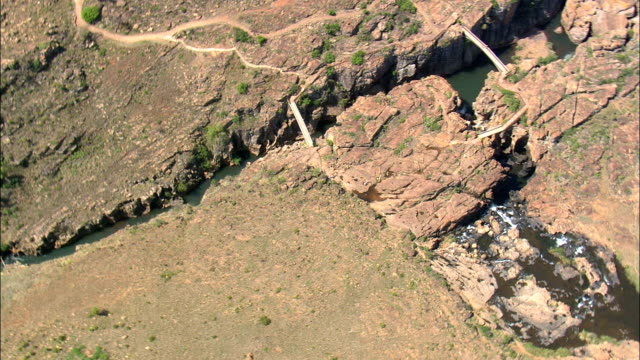 bourke's luck potholes  - aerial view - mpumalanga,  south africa - blyde river canyon stock videos and b-roll footage