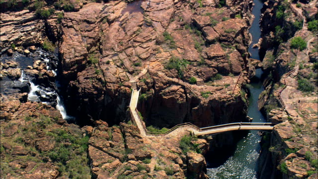 bourke's luck potholes  - aerial view - mpumalanga,  south africa - mpumalanga province stock videos and b-roll footage