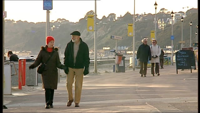 ext vox pop elderly couple stroll along promenade ross malin interview sot man with metal detector on beach with his dog people walking aloing winter... - ross sea stock videos & royalty-free footage