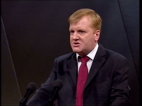 bournemouth charles kennedy mp shaking hands with audience memebrs at 2004 conference audience members clapping charles kennedy mp speech sot quietly... - weapons of mass destruction stock videos and b-roll footage