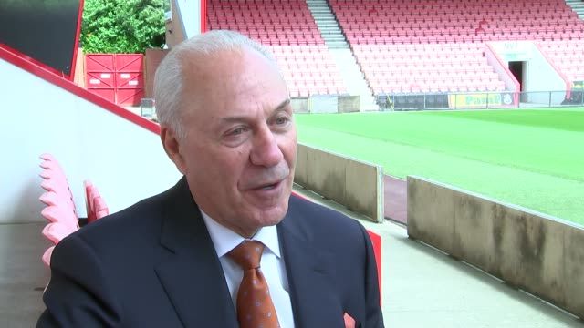 bournemouth look forward to premier league the vitality stadium jeff mostyn along at pitchside / graphic 'the chairman' partly overlaid jeff mostyn... - bournemouth stock-videos und b-roll-filmmaterial