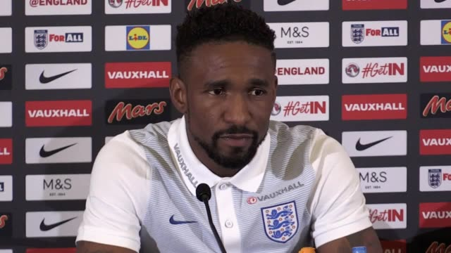 bournemouth striker jermain defoe speaks at a media conference ahead of england's 2018 world cup qualifiers against malta and slovakia. - bournemouth england stock videos & royalty-free footage