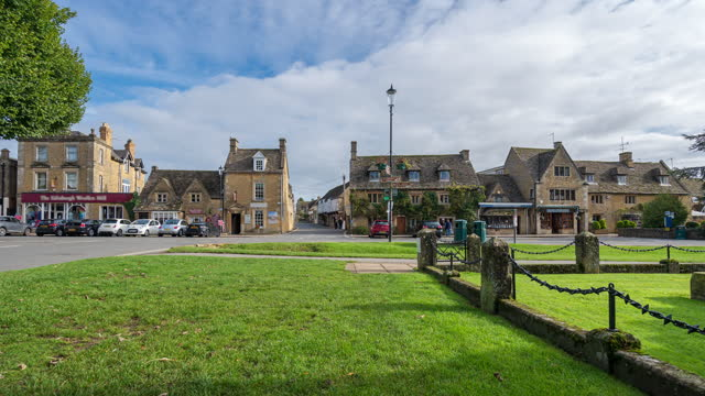 bourton-on-the-water's high street in cotswolds, gloucestershire, england - 4k time-lapse - cotswolds stock videos & royalty-free footage