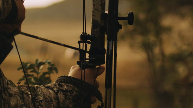 a bow hunter aims and takes his shot in slow motion, the arrow leaves the rest, hitting its animal target. this shot was designed to signify success, hard work, aim, power. - hunting sport stock videos & royalty-free footage