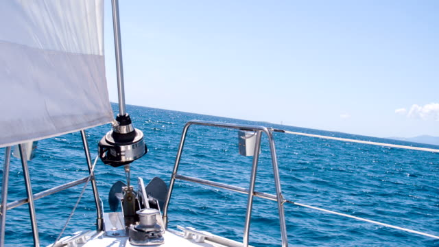 ms bow of a sailboat - boat point of view stock videos & royalty-free footage