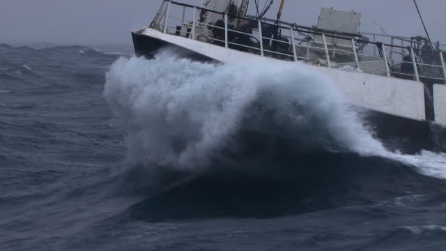 bow of fishing trawler on rough ocean, scotland, uk - ship's bow stock videos & royalty-free footage