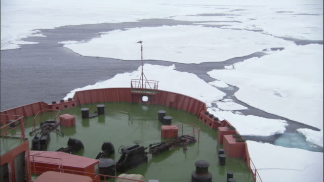 POV, Bow of Russian nuclear icebreaker traveling through broken pack ice, Russia