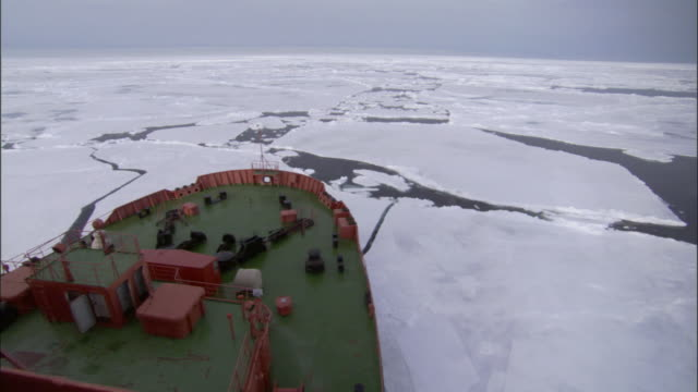 pov, bow of russian nuclear icebreaker traveling through broken pack ice, russia - russia stock videos & royalty-free footage