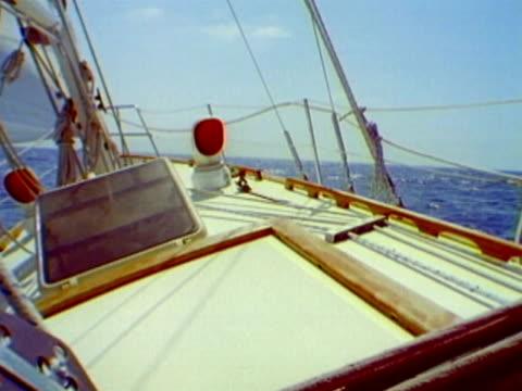 ms pov bow of sailboat as it leans sideways on choppy ocean waters and sails toward horizon/ catalina island, california - portello video stock e b–roll