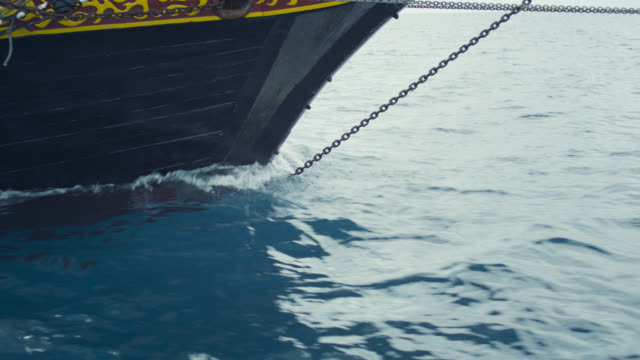 bow of tall ship under sail, grenada - ship's bow stock videos & royalty-free footage