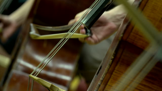 bow on a cello string in orchestra