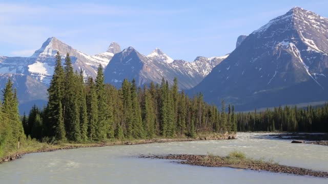 Bow River with Canadian Rockies near Banff