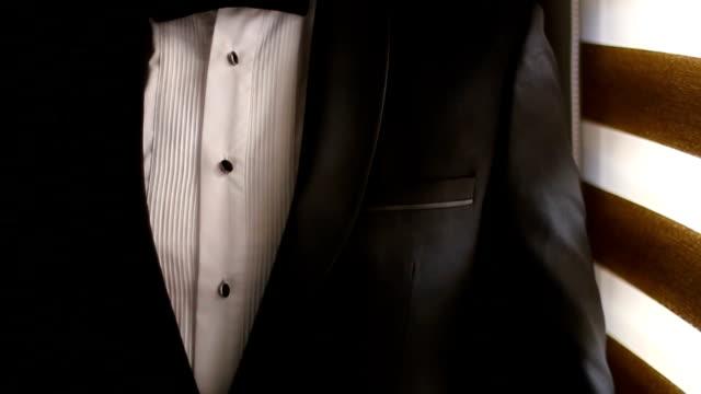 bow tie on white shirt - tuxedo stock videos & royalty-free footage