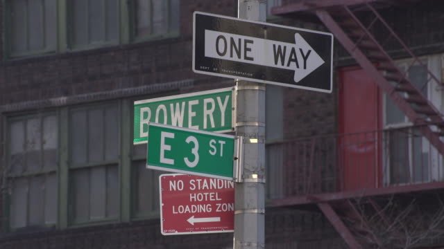 Bowery Street and East 3rd Street Intersection Sign