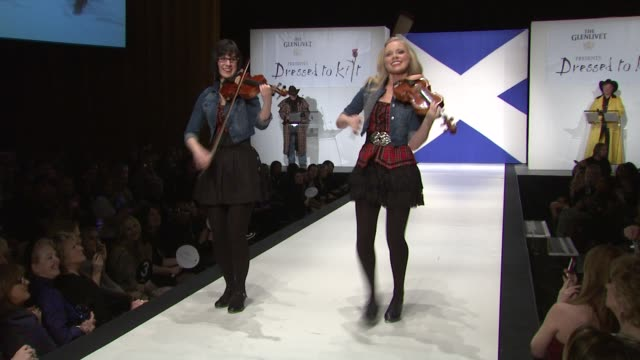 bowfire at the 9th annual dressed to kilt charity fashion show at new york ny. - kilt stock videos & royalty-free footage