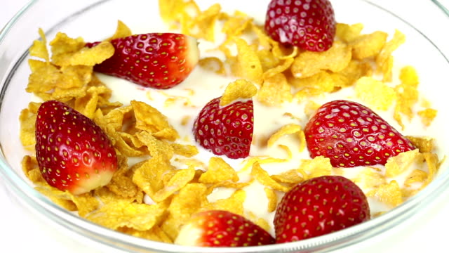 Bowl of cereal and strawberries