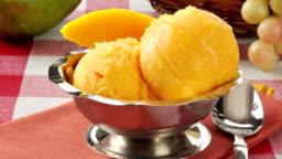 A bowl of delicious mango sherbet