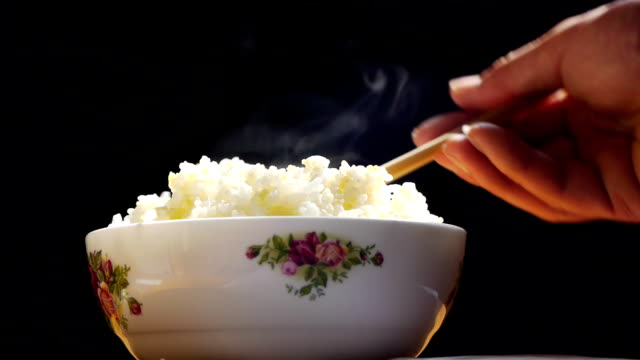 Bowl of rice with hot.