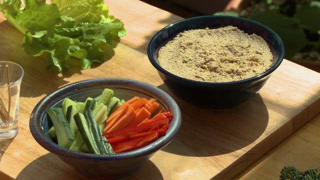 bowl of vegetables and grains - cucumber stock videos & royalty-free footage