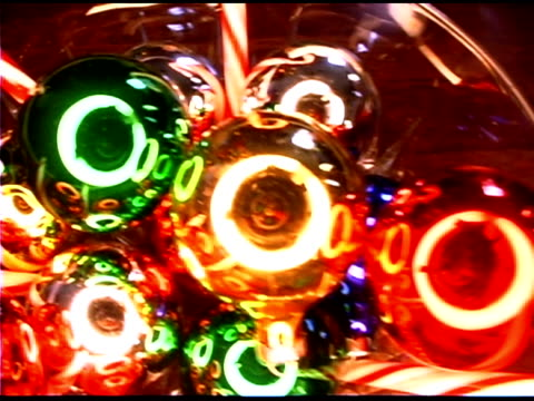 bowl with christmas decorations - see other clips from this shoot 1407 stock videos and b-roll footage