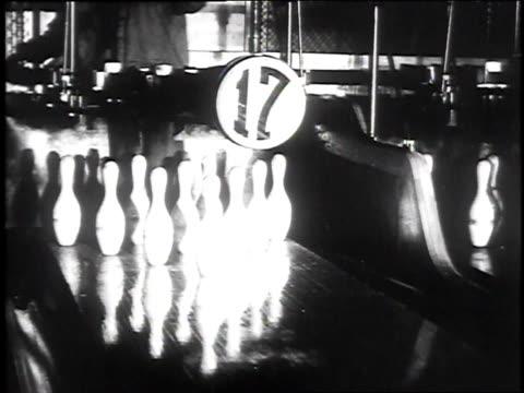 1930 montage bowlers bowling, striking pins, and shaking hands / pueblo, colorado, usa - pueblo colorado stock videos & royalty-free footage