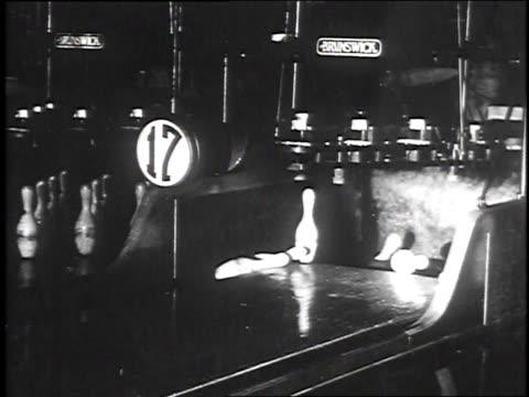 1930 ws bowlers throwing and striking pins / pueblo, colorado, usa - pueblo colorado stock videos & royalty-free footage