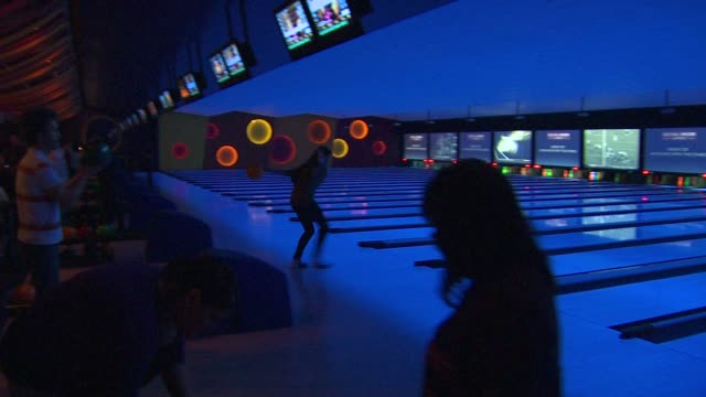 bowling alley at the bowlmor lanes orange county hosts evening with the stars at tustin ca - ボーリング場点の映像素材/bロール