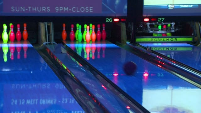 bowling alley at the bowlmor lanes orange county hosts evening with the stars at tustin ca. - bowling alley stock videos & royalty-free footage