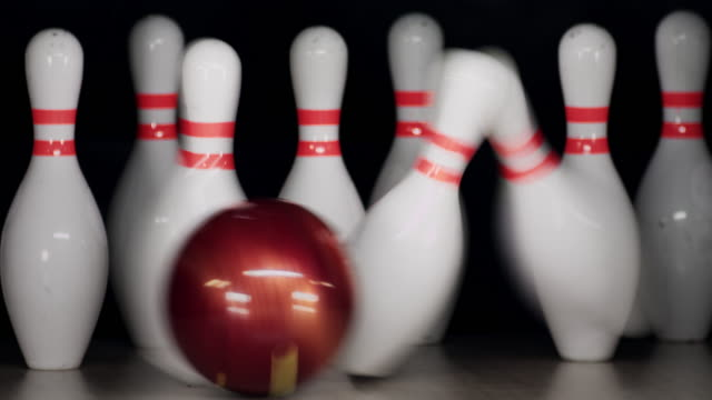 bowling pins - bowling ball stock videos & royalty-free footage