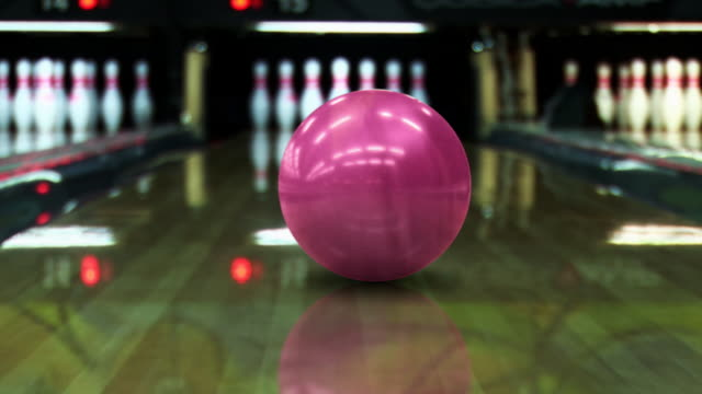 bowling strike (dolly shot) - hd, pal - ball stock videos & royalty-free footage