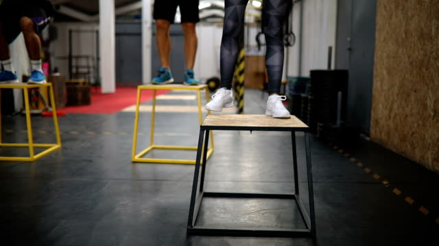 box jumping exercises - effort stock videos & royalty-free footage