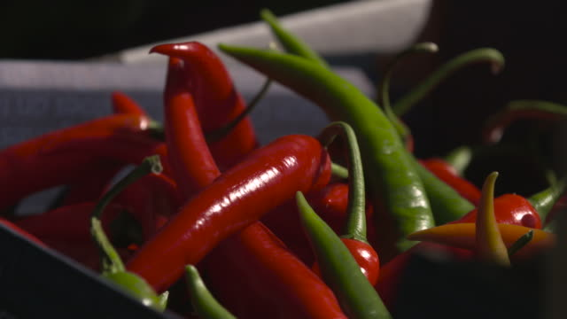box of chillies in vegetable market, uk - variation stock videos & royalty-free footage