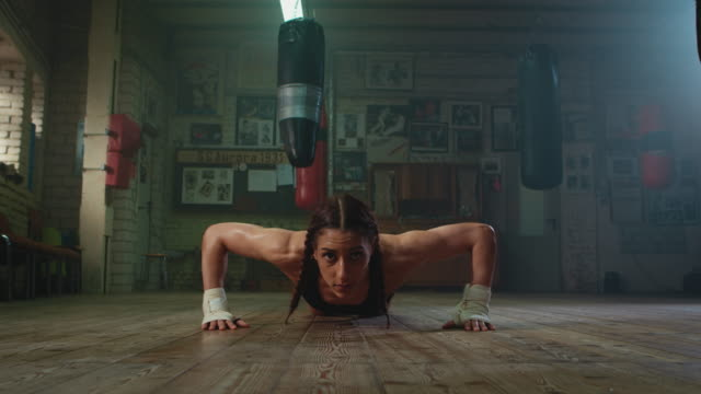 boxer doing push ups - strength stock videos & royalty-free footage