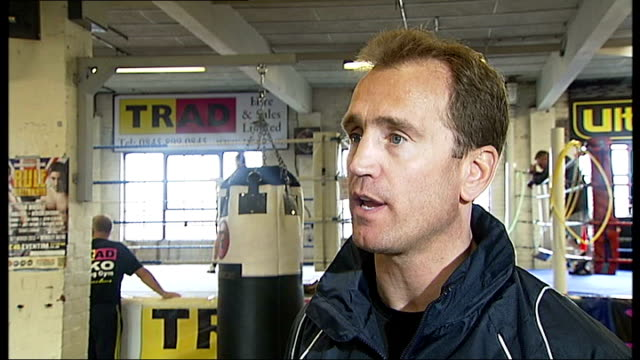 Canning Town William Storey interview SOT Buglioni shadow boxing in ring Mark Tibbs interview SOT Buglioni setup shot with reporter / interview SOT...
