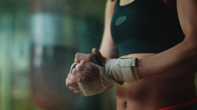 Boxer preparing for training