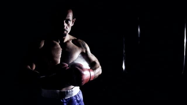 hd-super langsam mo: boxer punching handschuhe zusammen - belly punching stock-videos und b-roll-filmmaterial