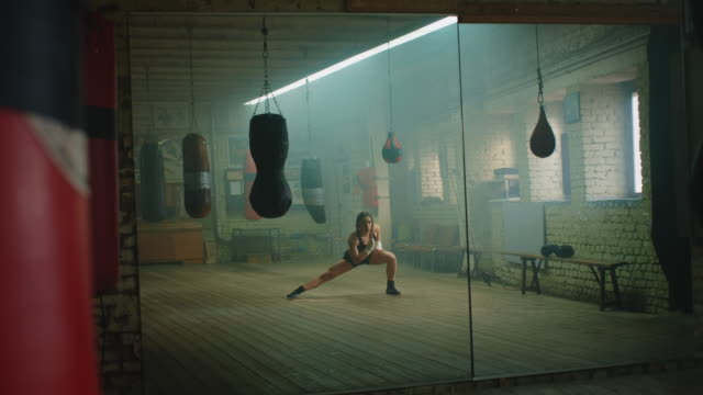 boxer stretching in gym - strength stock videos & royalty-free footage