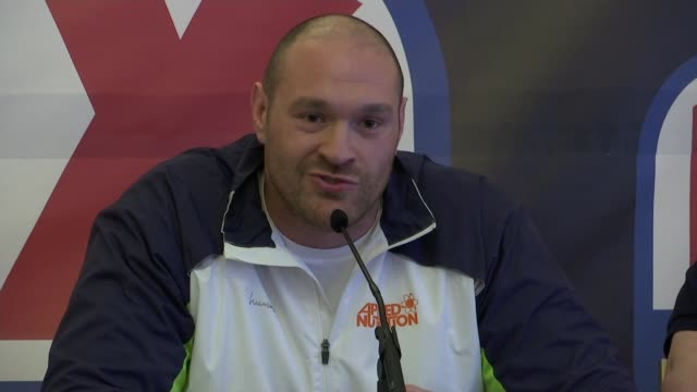 boxer tyson fury belittles anthony joshua's heavyweight title win tyson fury press conference sot [regarding anthony joshua] i thought he looked like... - boxing heavyweight stock videos & royalty-free footage