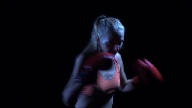 boxer women training in the gym - muay thai stock videos and b-roll footage