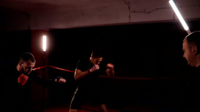 vídeos de stock, filmes e b-roll de boxers e treinador na formação - posição de combate