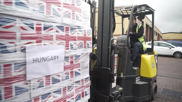 boxes of porridge, from the great british porridge co., with boxes of goods to be delivered all over europe, filmed in connection to possibility of a... - connection stock videos & royalty-free footage