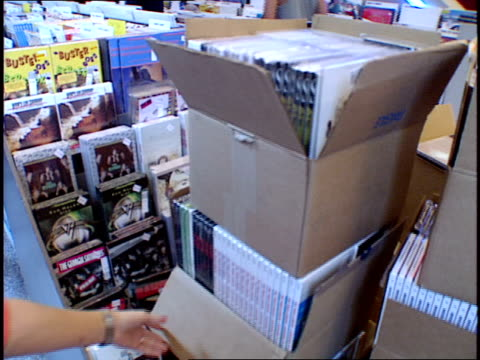 boxes of records and people in tower records browsing the shelves for music - compact disc stock videos & royalty-free footage