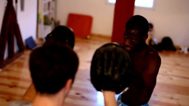 boxing class in dojo - kickboxing stock videos & royalty-free footage