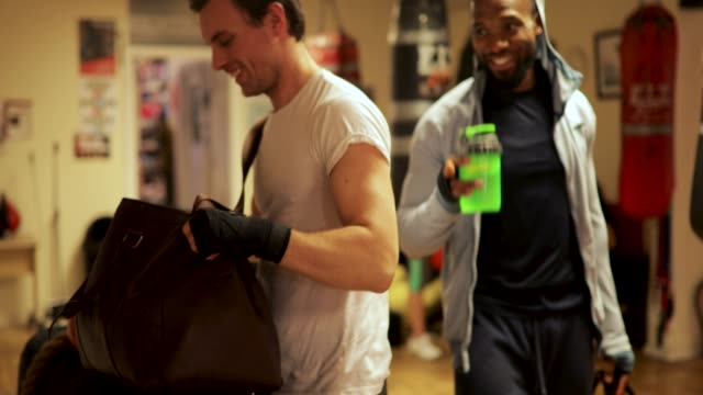 boxing friends at gym - males stock videos & royalty-free footage